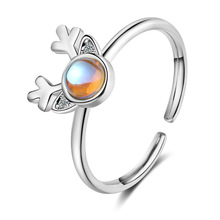 Deer Antler Animal Adjustable 925 Sterling Silver Ring For Women Korean Fashion Designer Cute Party Moonstone Jewelry Gifts