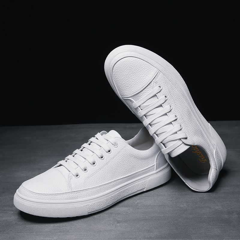 Fashion Brand Casual Men Leather Shoes White Male Casual Shoes Breathable White Sneakers Leather Mens Moccasins Simple White