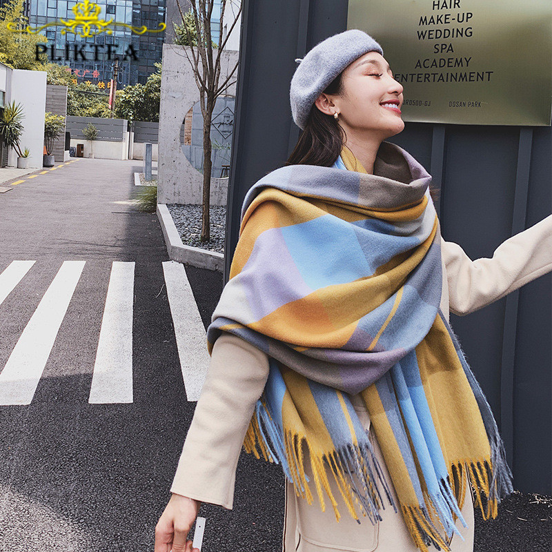 Colorful Plaid Cashmere Shawl For Women Winter Plaid Scarves Female Poncho Ladies Wool Blends Pashmina Women Warm Tippet Scarfs