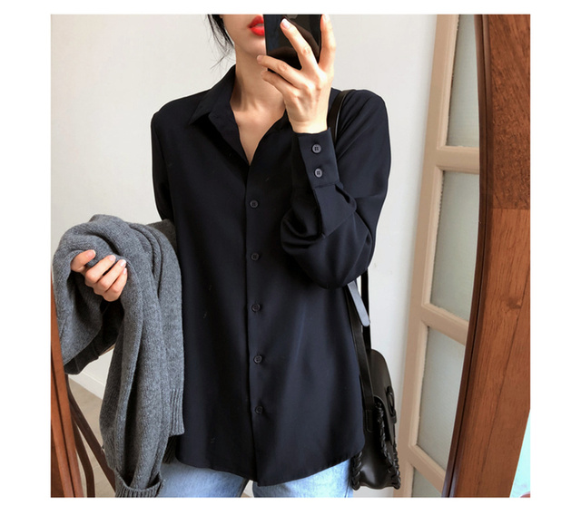 New Women's Shirt Classic Chiffon Blouse Female Plus Size Loose Long Sleeve Shirts Lady Simple Style Tops Clothes Blusas 6830 50 5