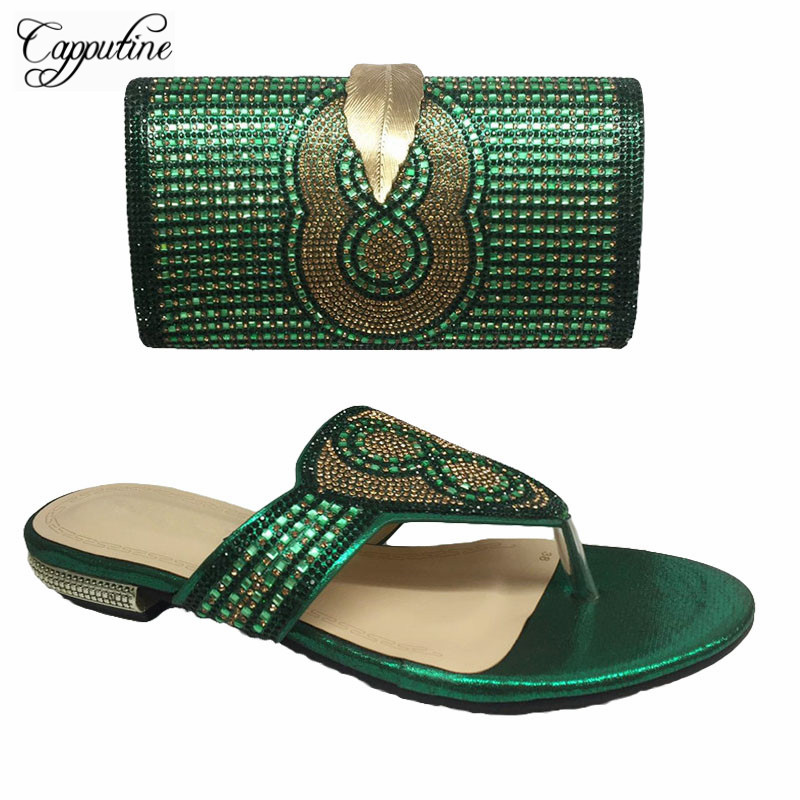 Capputine Italian Shoes With Matching Bags Set Hot African Women Party Shoes And Bag Sets Green Women Sandals And Purse Set