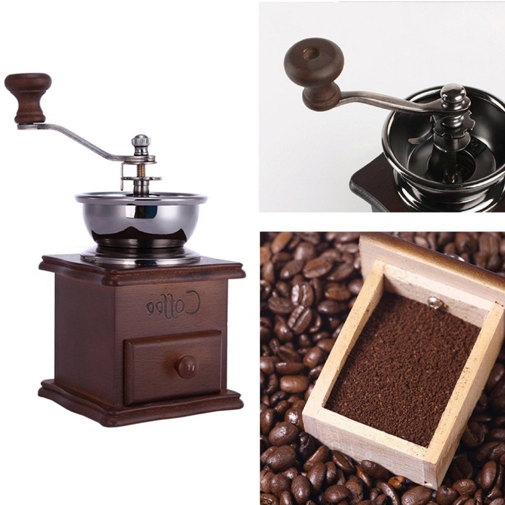Coffee Grinder Manual Coffee Maker Antique Appearance Wooden Mini Stainless Steel Wooden Base Coffee Bean Grinder