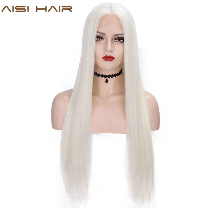 AISI HAIR White Synthetic Lace Front Wig Long Straight Wigs For Women 24Inch Middle Part Black Red Cosplay Or Party Wigs 13X4