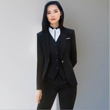 Women Three Piece Set Trouser Suits Office Women Blazer Vest and Pants Ladies Black Blue 3 Pieces Pants Skirts Suit Large Size