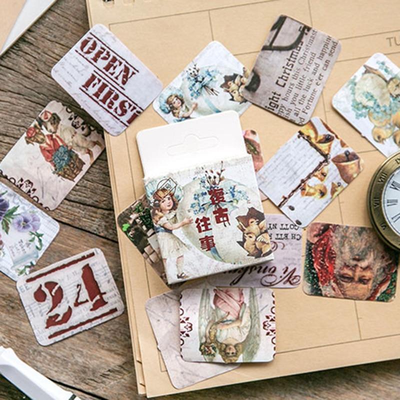 45 Teile/paket Vintage Papier Scrapbooking Stempel Aufkleber Sammlung Flakes Tagebuch Alben Planer Journaling Schreibwaren