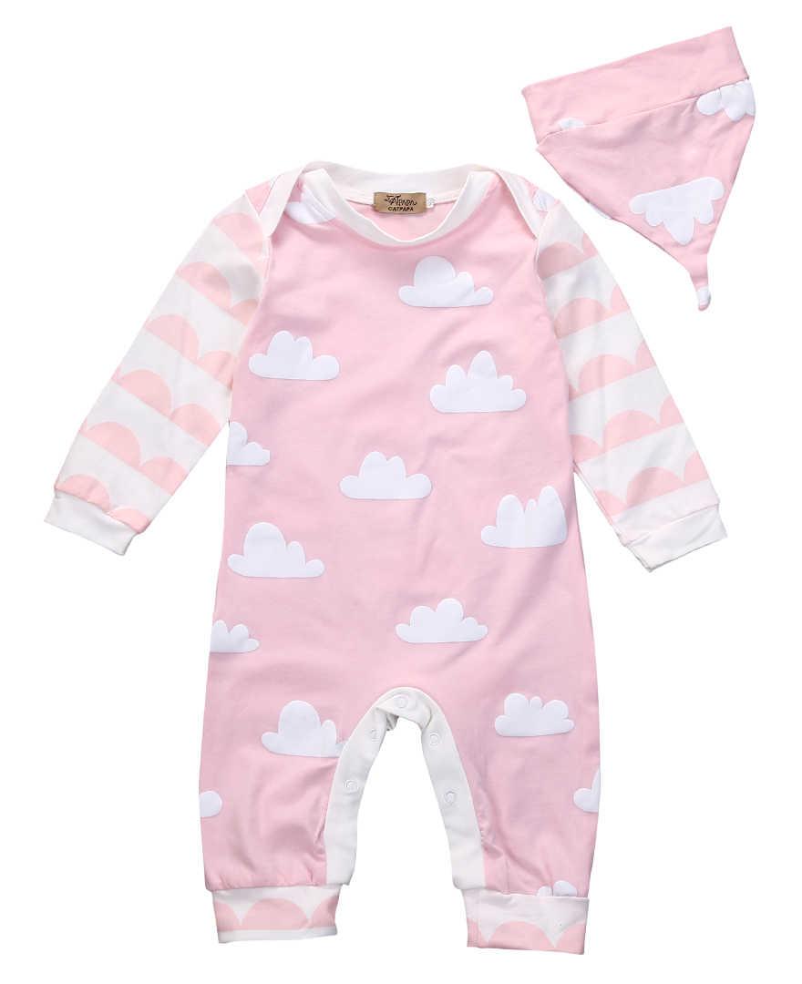 Bayi Bayi Anak-anak Gadis Lengan Panjang Baju Monyet Jumpsuit Topi Pakaian Anak-anak Musim Gugur Musim Semi Pakaian