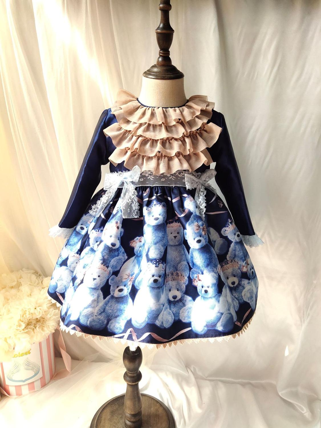 Girls Smocking Dresses Spanish court dress Foral Princess Dress Infant Party Doll Day Dress Kid School Clothes hat+hairpin+dress