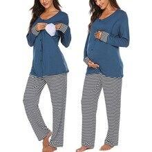 Зимняя пижама с длинными рукавами для беременных и кормящих женщин; футболка+ штаны в полоску; Удобный пижамный комплект для грудного вскармливания