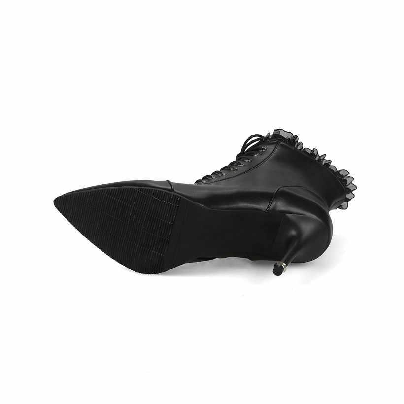Kış Kadın yarım çizmeler Yüksek Başak Topuk Sivri Burun Siyah Beyaz Rahat Ofis Bayan Fermuar Dantel Ince Stiletto Kısa Martin Çizmeler