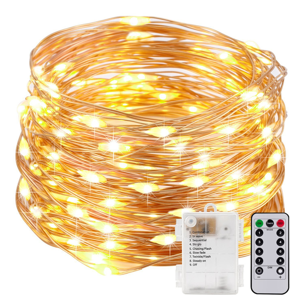 50LEDs/100LEDs Fairy String Lights AA Battery Powered LED Copper Wire Garland With Remote Controller Outdoor Garden String