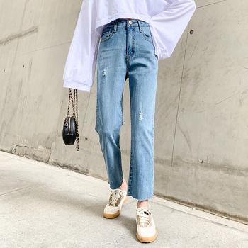 Dżinsy kobiece luźna wysoka talia dżinsy jesień nowe proste dżinsy dla mamy dżinsy freddy dżinsy z szeroką nogawką spodnie do kostek w stylu Retro niebieski tanie i dobre opinie COTTON Elastan Kostki długości spodnie ATF-9906 Przycisk fly Jeans Kobiety Streetwear Plaid REGULAR