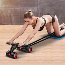 Waist Belly Muscle Exerciser Equipment Four Wheel Roll Ab Roller Abdominal Muscle Trainer Indoor Home Training Device Gymnastics
