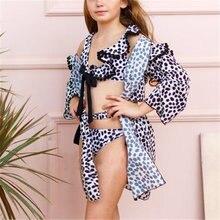 Летний купальник для девочек Леопардовый бикини с принтом купальный