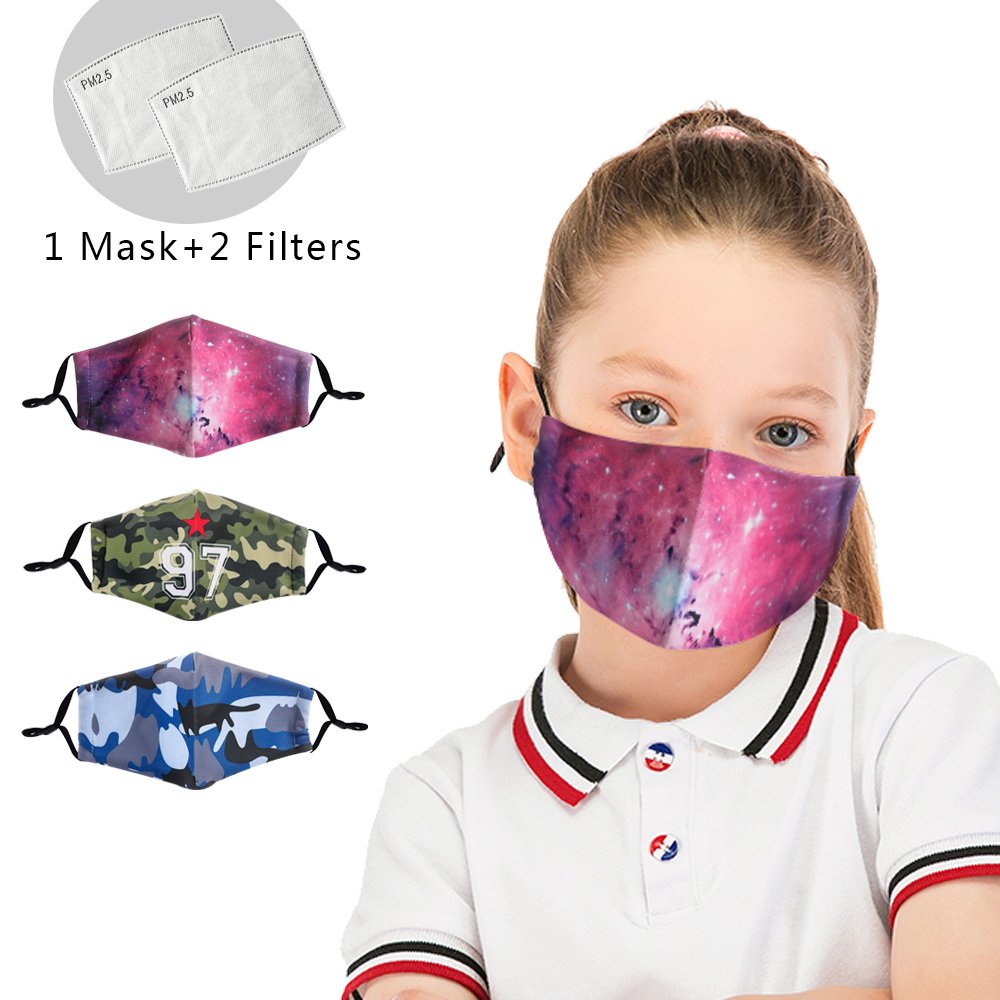 Galxy Reusable Facemask Washable Children Mask Stylish Protective PM2.5 Filter Mask Anti Dust Cotton Mask Cute Anti Flu Mask