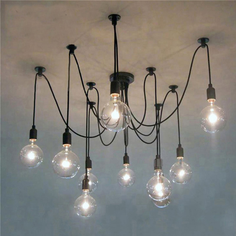 LED Chandelier DIY Art Spider Ceiling Lamp Fixture Light Hanging  Nordic Retro Edison Bulb Light Vintage Loft Antique Hanging