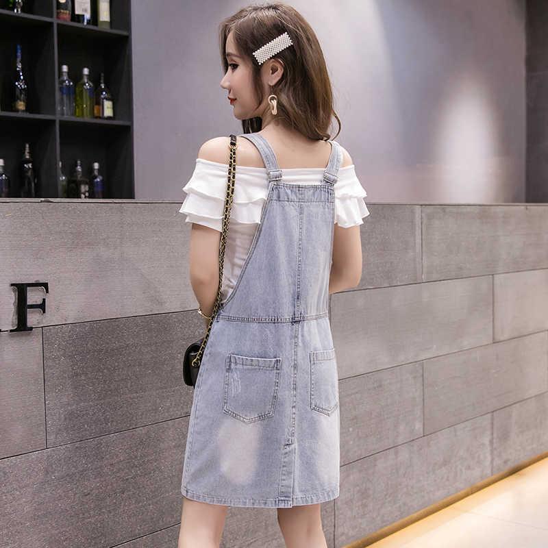 Gurt Kurzen Kleid Frauen Sommer 2020 Mode Diamant Tasche Schlank Jean Knie Kleider High Street Blau Preppy Vestido S-XL