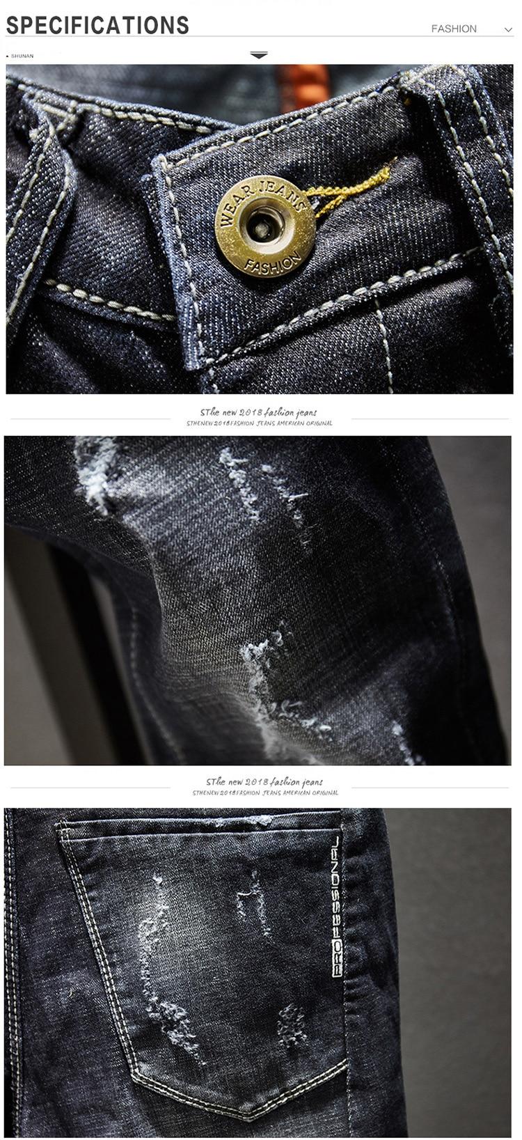 KSTUN Ripped Jeans Men Dark Blue Stretch Slim Fit Distressed Streetwear Denim Pants Casual Retro