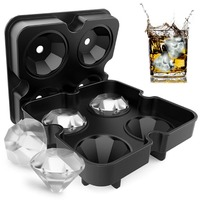 Bar Party Silicone 3D Mold Ball Chocolate Maker Whiskey Diamond 4 Cavity Trays Ice Tool Kitchen Gift Cube Shape