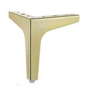 Image 5 - 4 szt. Podłogi meble metalowe nogi kwadratowe szafki stół z drewna nogi złoto na sofę stopy stóp łóżko Riser akcesoria meblowe