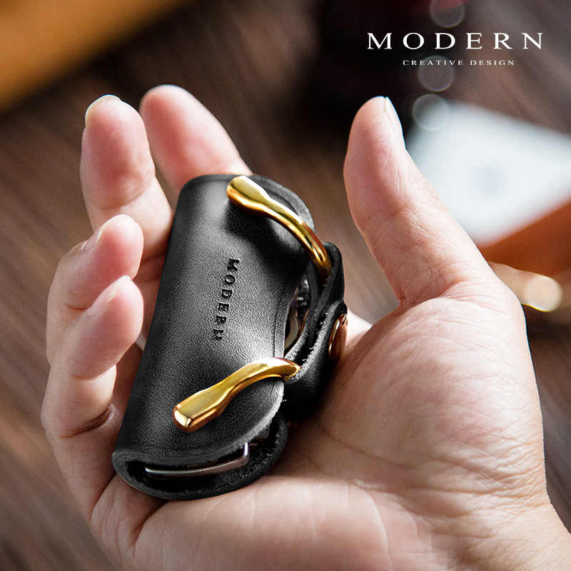 الحديث-ماركة جلد طبيعي مفتاح حامل مفتاح المحفظة المنظم الرجال النساء مفتاح سلسلة المفاتيح Gear بها بنفسك والعتاد مفتاح الذكية