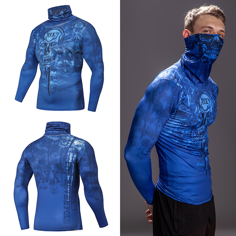 Newest High Collar t shirt Streetwear Gym Men Casual 3D T shirt Fitness Compression shirts Lapel Underwear Thermal Male Tops