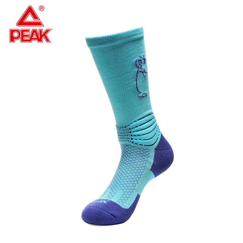PEAK Men Basketball Socks Fashion Sports Socks Stockings 50%Combed Cotton 30%Fiber 3%Nylon 15%Polyester Fiber 2%Spandex Socks