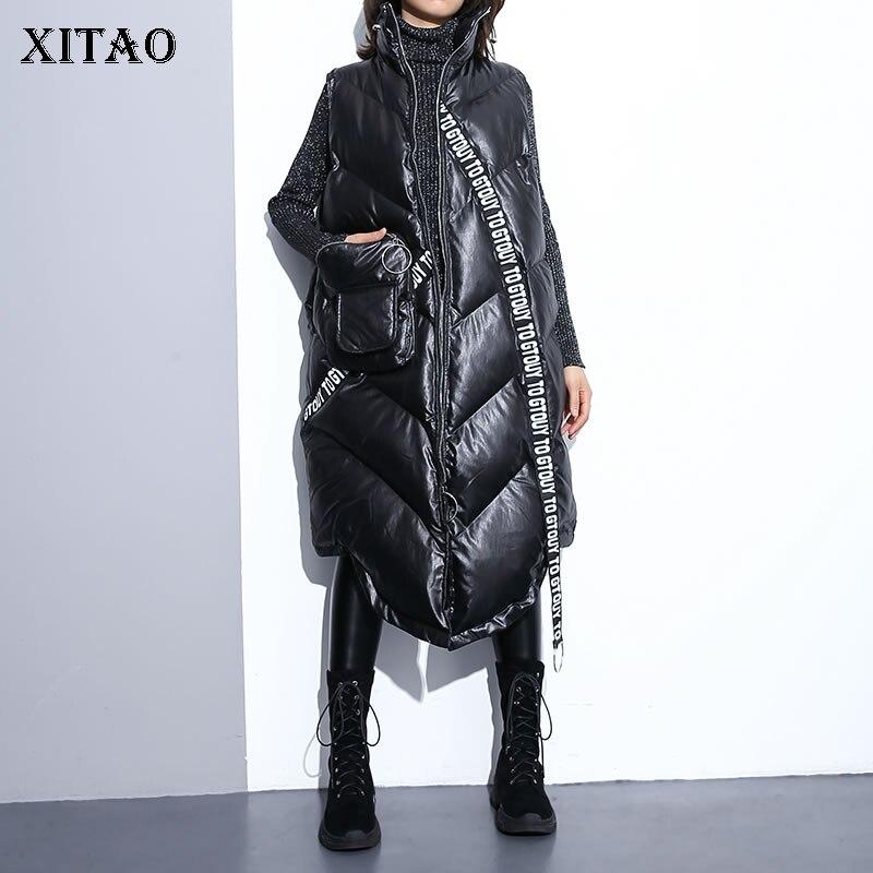 XITAO  Women Black Sleeveless Pocket Loose Vest 2019 New Mandarin Collar Sleeveless Casual Vest Female Solid Color Coat ZLL2158