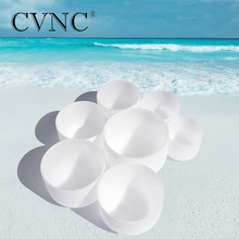 CVNC 7 - 13  Chakra Tuned Set of 7pcs Frosted Quartz Crystal Singing Bowls Yoga