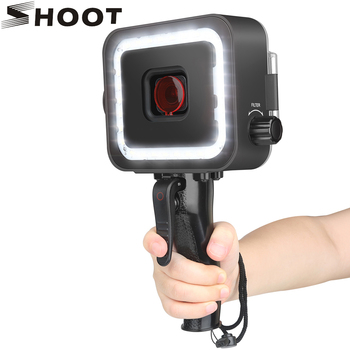 SHOOT 40M 900LM Underwater LED Video Light for GoPro Hero 7 6 5 Black Waterproof Diving Flash Lighting Fill in Lamp + Red Filter