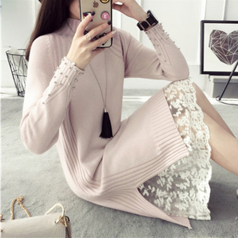 Women Maxi Knitting Long Turtleneck Dress