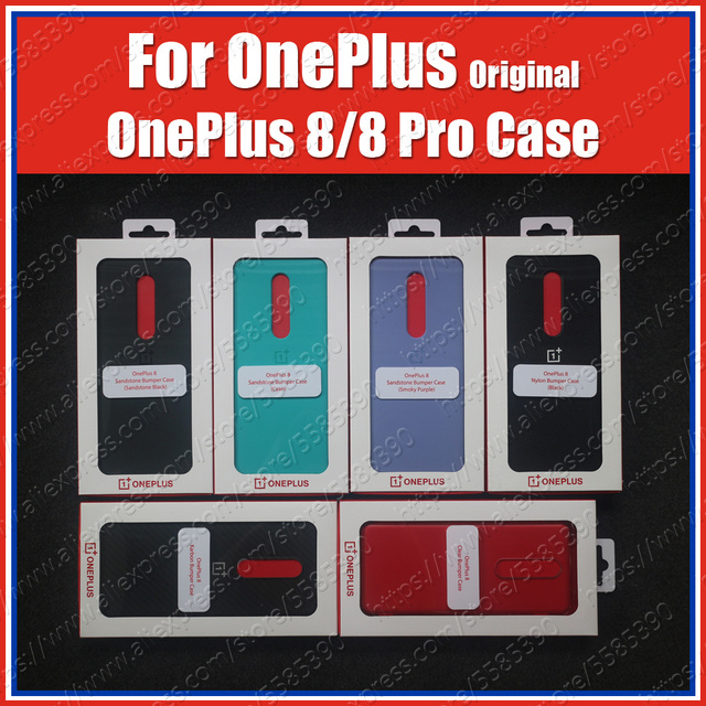 IN2010 oficjalne pudełko Oneplus 8 Case piaskowiec zderzak (100% oryginalny) Oneplus 8 Pro Case piaskowiec Nylon Karbon Cover