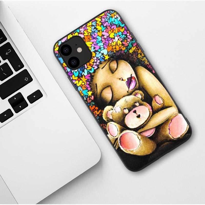 Afrykańskie piękno Afro Puffs czarna obudowa dla dziewczynki dla iPhone 11 Pro Max miękka silikonowa obudowa telefonu dla iPhone X XR XS MAX 6 6s 7 8 Plus