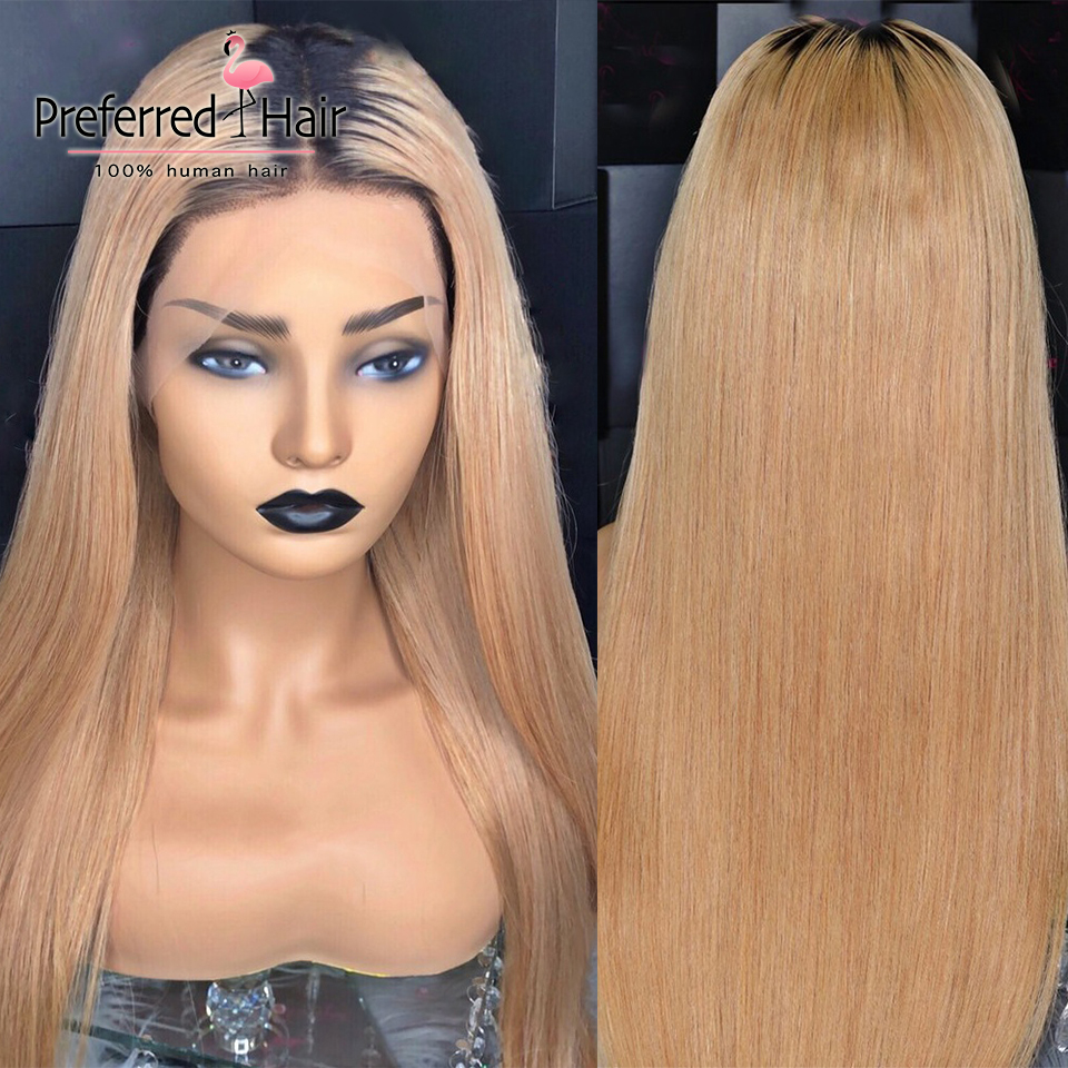 Preferred Honey Blonde #27 13x6 Lace Front Wig Pre Plucked Brazilian Remy 1B Roots Straight Full Lace Human Hair Wigs For Women
