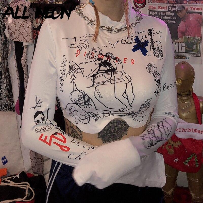 ALLNeon-camisetas cortas con estampado de cuello de tortuga para mujer, blusas de manga larga a la moda con estampado para mujer 2019