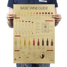 Estilo Retro de papel kraft colección de decoración de cocina pósters guía de degustación de vino adorno cartel vintage bar cafwall pegatinas
