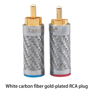 Image 5 - Xangsane 4PCS black/white carbon fiber gold plated and silver plated hifi audio RCA plug for DIY signal power cable
