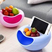4 цвета Современная Гостиная креативная форма ленивая чаша для закусок пластиковая двухслойная зеркальная чаша