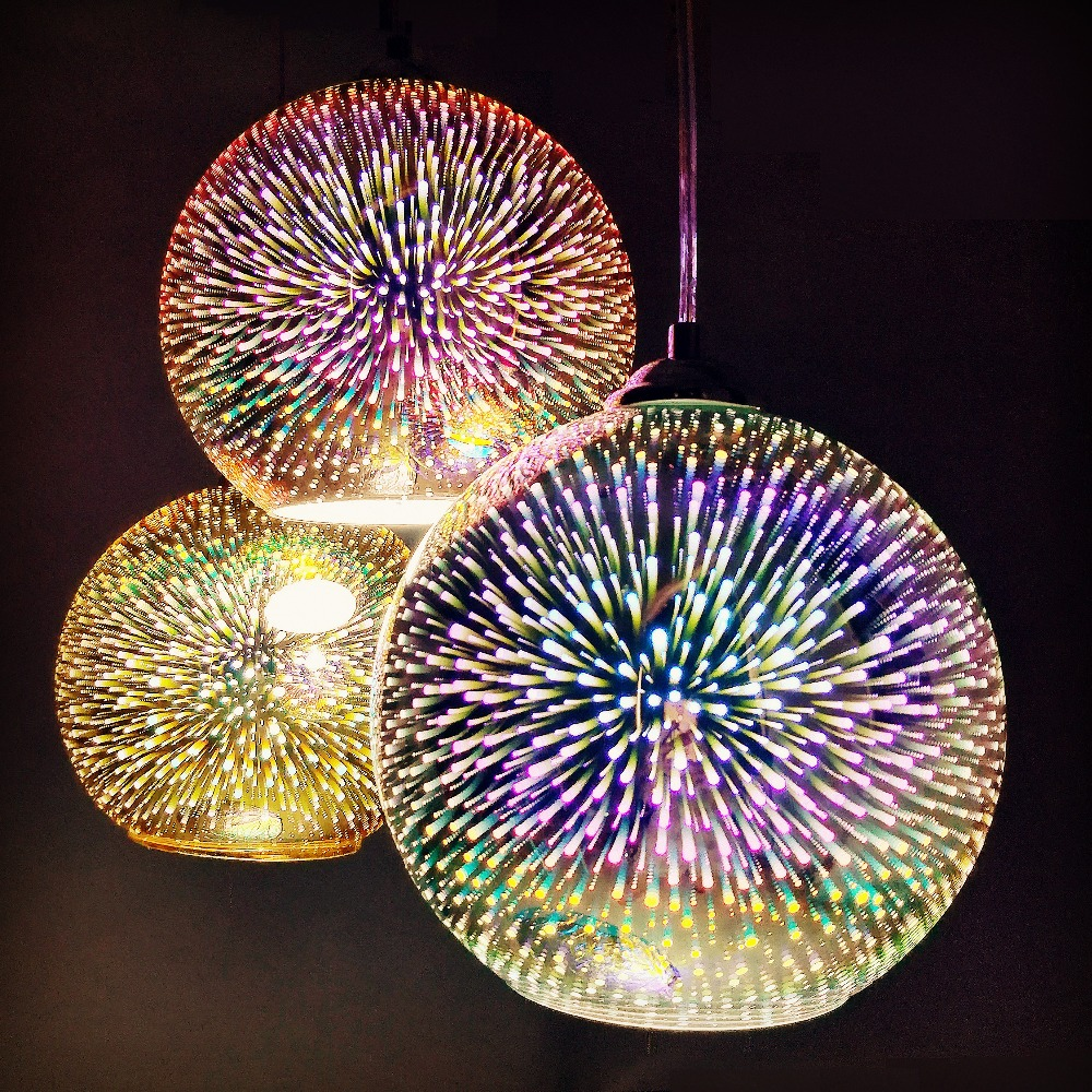 LED Modern pendant light 3D fireworks colorful Plated Glass Ball decorated bar dining kitchen lamp hanging flash light fixture