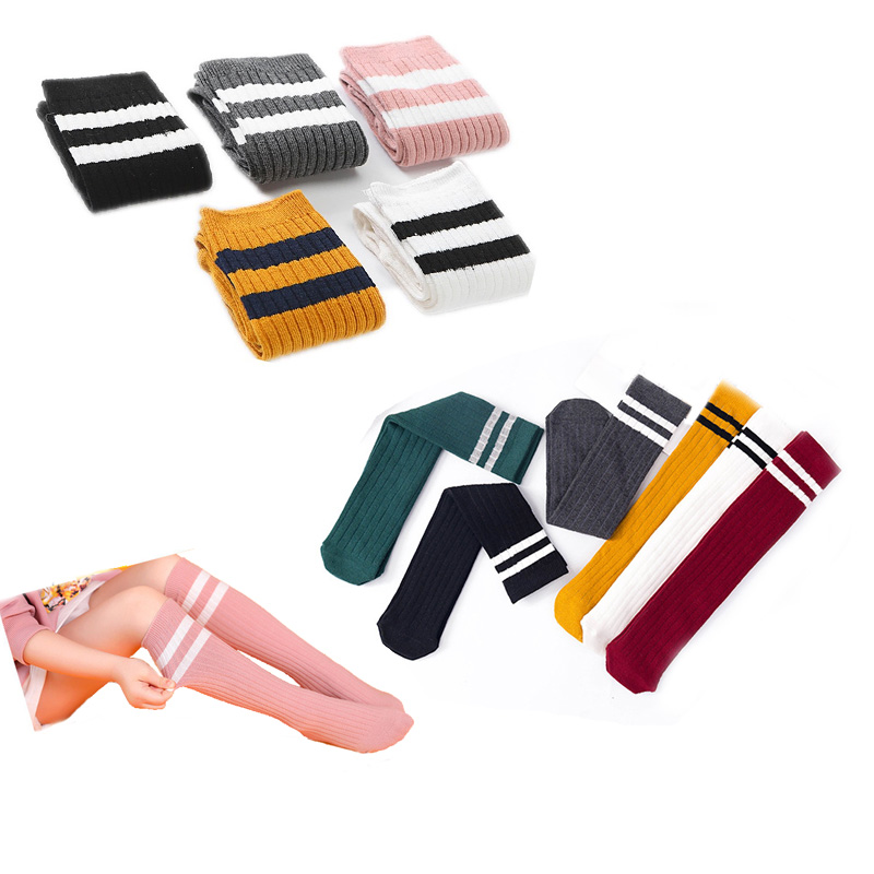 Cotton Striped  Student Children's Football Skarpetki Meias Knee Socks Kids High Girls Baby Long Kniekousen Meisje Boys