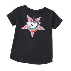 Детская одежда для девочек, футболка, Новинка лета 2021, детская одежда, мультяшная детская хлопковая Футболка с принтом из блесток, одежда дл...
