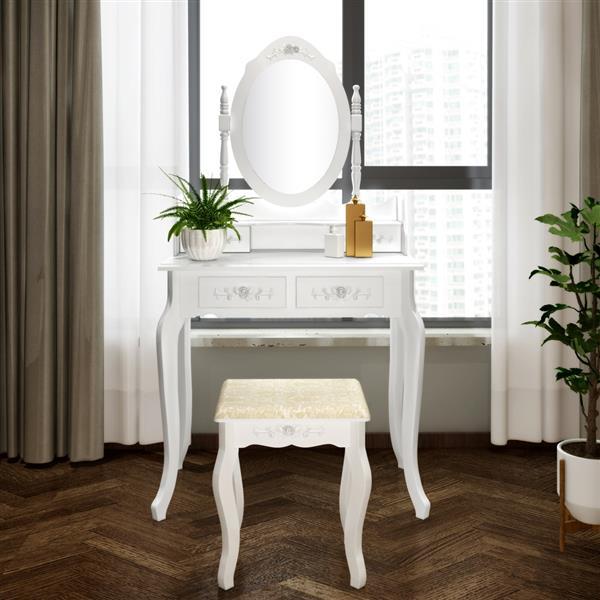 Commode de miroir amovible moderne à 4 tiroirs, Rotation à 360 degrés, fabrication raffinée blanche, commode de vanité au design méticuleux.