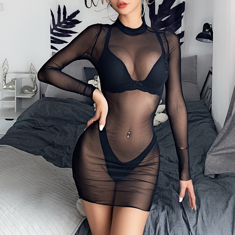 Women Mesh Sheer Bikini Cover Up Sexy See Through Swimwear Long Sleeve One Piece Beach Dress Summer Clubwear Party Bathing Suit(China)