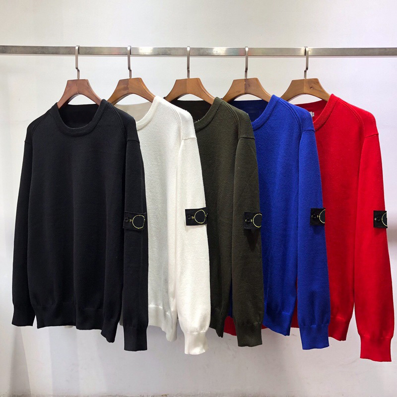 Men's Solid Color Pullover Sweater Men's Patch Sweater Streetwear Men's Casual Sweater Autumn And Winter Pullover