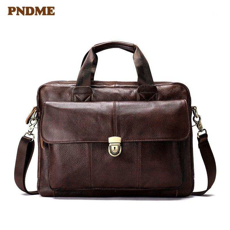 PNDME Casual Retro Soft Genuine Leather Men's Briefcase Business First Layer Cowhide Laptop Bag Designer Brown Messenger Bags