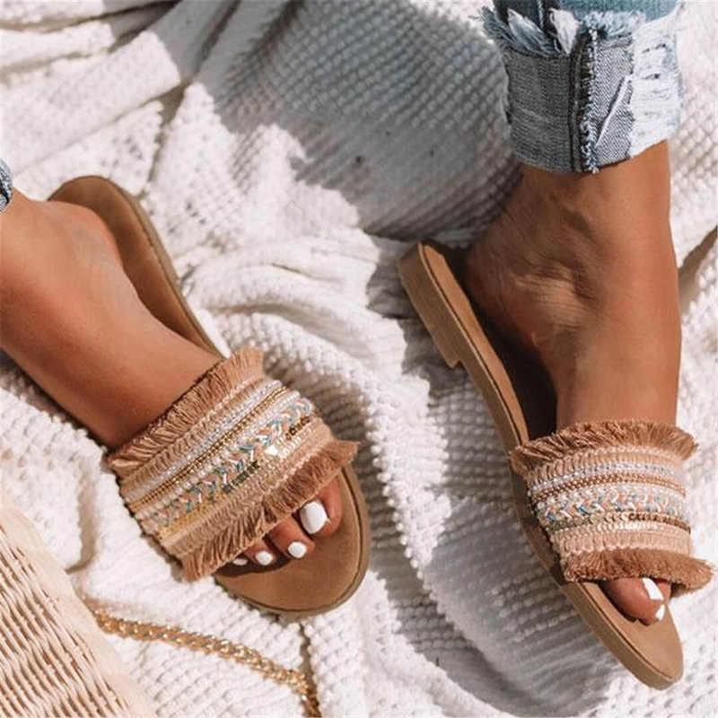 Nữ Dép Nữ Mùa Hè 2020 Tân La Mã Retro Giày Sandal Đế Bằng Nữ Slip On Trượt Người Phụ Nữ Plus Kích Thước Sandalias Mujer