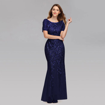 Beauty-Emily 2019 HOT Sale Tulle Mermaid Evening Dresses Long Short Sleeve Tiered Hems Prom Gowns Pleated Vestido de noche 5