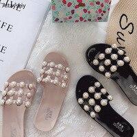 Летние Тапочки женские трендовые милые шлепанцы пляжная обувь с жемчугом Женские Простые шлепанцы въетнамки для студентов