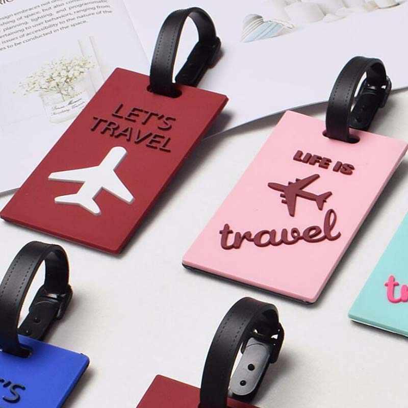 """7 acessórios colorstravel tag de bagagem """"vamos viajar"""" sílica gel mala id addres titular bagagem embarque etiqueta portátil"""