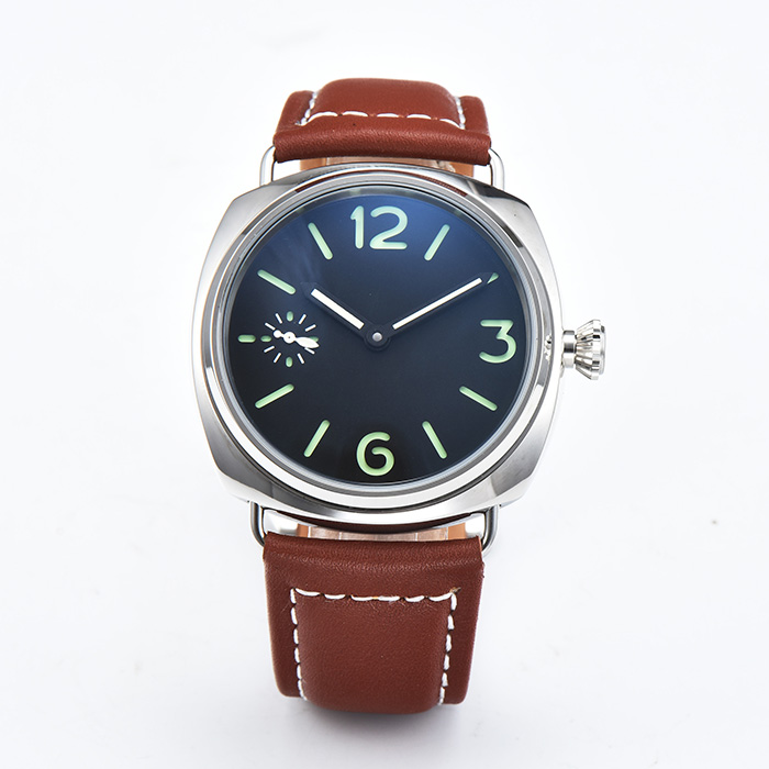 45mm montre mouvement automatique en acier inoxydable boîtier poli hommes de haute qualité en cuir marron bracelet ZP-45-1