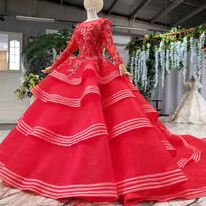 Image 4 - HTL834 muslim wedding gowns long sleeves beading appliques o neck red wedding dress with bridal veil ball gown vestido festa